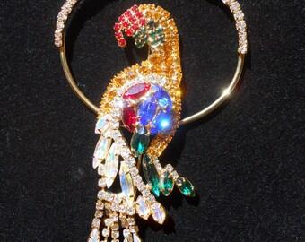 Large Vintage Swarovski Crystal Parrot Pin