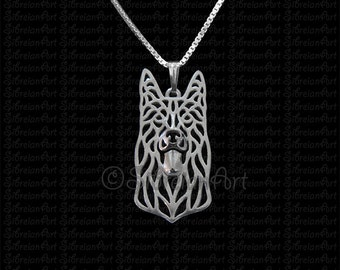 Black German Shepherd dog  - sterling silver pendant and necklace.