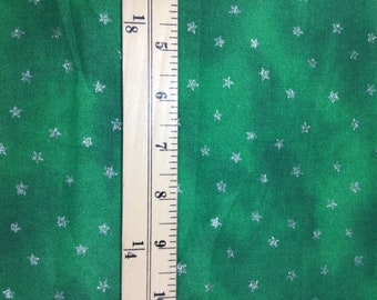 Green with Metallic Silver Stars - Blank Textiles - Cotton Fabric