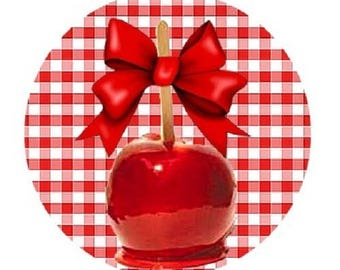 cabochon 18mm - Apple has bite - red gingham