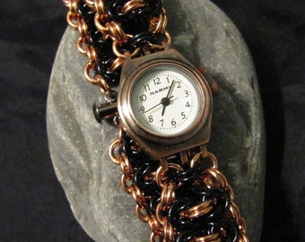Black and Copper Chainmaille Watch