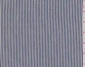 White/Black Stripe Denim, Fabric By The Yard