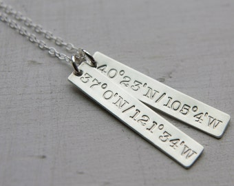 Custom Silver Vertical Two Bar Necklace, Sterling Silver Jewelry, Customized Personalized Simple Everyday Mom Kids, 2 Initial, Coordinates