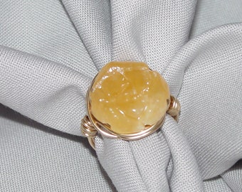 Butterscotch Jade Carved Flower, Wire Wrapped Ring