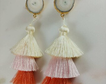 Peach and Cream Ombre Silk Tassel Stud Earrings