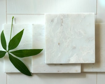20% OFF***    Limited Time. Alaska White Square Marble Coasters. Set of 4. Polished.