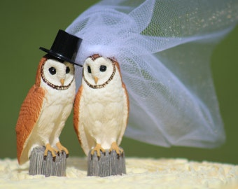 Owl Wedding Cake Topper  -  Rustic Country Chic Wedding