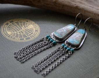 Turquoise Fringe Earrings in Sterling Silver
