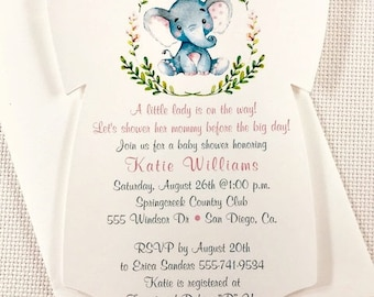Baby Shower Invitation / ONESIE /Pink Elephant / Baby Girl /  Set of 10 / All Occasion Favors