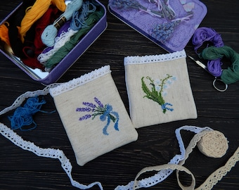 Embroidered sachet lavender and Lily of the valley, Sachet Bags, Cross stitch embroidery home decor, Wardrobe sachet pouch, Sachet favors