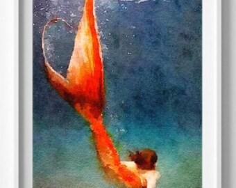 Printable mermaid, Mermaid printable,Wall Art, Digital Print, instant download, Aqua, Pic No 2 D