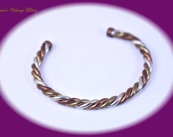 Vintage Copper Cuff Bracelet Copper Bracelet Vintage Cuff Bracelet Twisted Rope Cuff Bracelet Costume Jewelry Gift For Her Vintage Jewelry