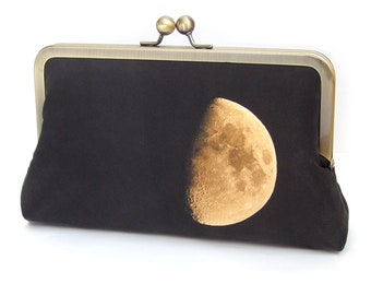 Moon clutch bag, lunar purse, black and yellow printed silk handbag