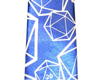 Dungeons and Dragons D20 Dice Tie, DnD Tie, Dress Tie, Blue and White