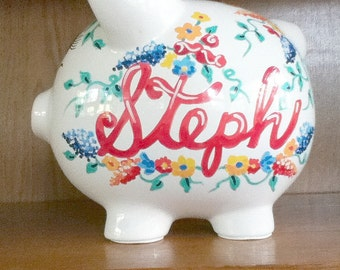 Personalized Handpainted Piggy Bank Flowers Primary Colors