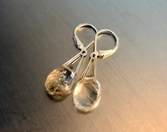 Sterling Silver and Rutilated Quartz Briolette Earrings