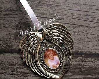 Personalised Metal Angel Wings Photo Christmas Tree Decoration Ornament Memorial Heaven Love Gift Keepsake Loved Missed Remember Grave