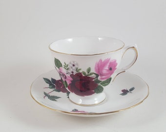 Queen Anne Dark and Light Roses Teacup and Saucer