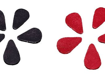 Set of 10 forms style petals sequins or drops in red and black leather 2 x 2.5 cm
