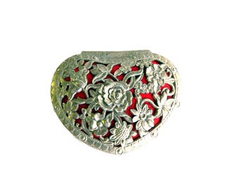 "Vintage Art Nouveau Tooled Silver Heart Jewelry Casket Box - Flowers Vines - Red Velvet - Trinket Home Decor Vanity - 3"" L x 2 1/4"" W"