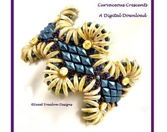 Crescent Bead and DiamonDuo Tutorial, Seed Bead Bracelet Instructions for Intermediate to Advanced Beaders