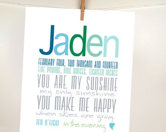 You are my sunshine Birth Announcement Custom Baby Boy Art Birth Print New Baby Sign Baby shower gift Nursery Decor new baby welcome sign