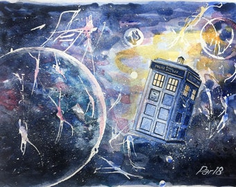 Tardis dr who print,doctor who painting,time travel art,scifi fantasy gift,space wall decor,whovian art,police box,geek watercolor,Torchwood