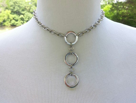 24/7 Wear Discreet Symbolic O Ring Day Collar Necklace, BDSM Submissive Slave Collar, DDLG, Stainless Steel Large Link Chain with 3 Rings