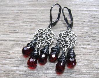 Garnet Chandelier Earrings, Mozambique Garnet, January Birthstone Jewelry,  Burgandy Dangle Earrings, Garnet Jewelry