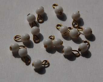 Vintage White Glass 3mm Drops with gold Loop Japan drp027