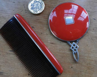 Art Deco Silver And Enamelled Hand Mirror and Comb Red