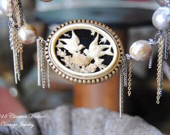BIRDNEST---Vintage Celluloid Bird Nest Brooch Freshwater Pearl Vintage Chain Fringe Faux Pearl Tassel NECKLACE