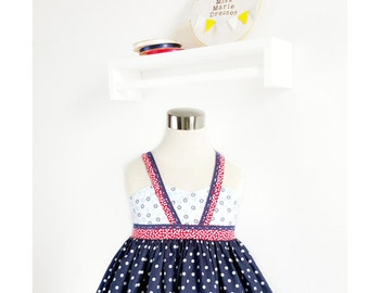 Size 6 Girls 4th of July Outfit  - Red White and Blue Dress – Little Girls Patriotic Halter Top Dress – Special Occasion Outfit – USA Dress