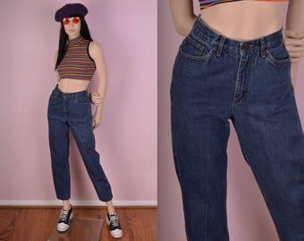 80s Ralph Lauren Blue High Waisted Jeans/ 28 Waist/ 1980s/ Denim