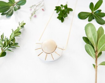 Planet Sunshine Necklace - Cheerful Gold Leaf Sun Rays - Mixed Material Necklace - Half Circle - Half Moon - Geometric