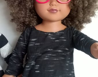 Black Jersey knit Cascading Tunic Top for your 18 inch doll - handmade 18 inch doll clothes