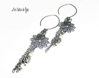 Lilith • earrings • jewelry baroque Pearl and Black Metal