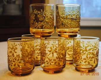 5 - Libbey's Gold Bouquet Amber Juice Glasses
