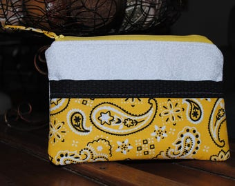 Adorable Yellow Wallet, Unique Fabric Wallet, Gorgeous Wallet, Zippered Bag, Zippered Wallet, Yellow Paisley wallet, Lined Wallet,
