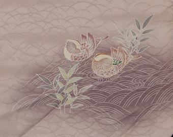 Women's Lavender Silk Houmongi Kimono - Paired Ducks, Symbol of Marital Bliss (WHPL4 JS 121016 AK)