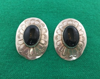 """Vintage, .925 and Onyx, Oval, Concho Earrings. Native American, Signed """"RJ"""". Stamped, Southwest Style."""
