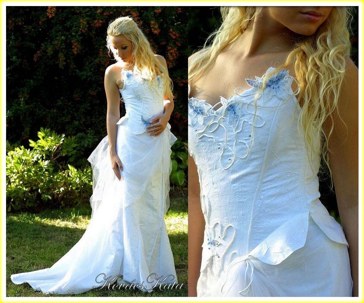 Magische Alternative Korsett Brautkleid mit Handpainted Blau