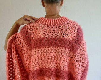 Peach-colored poncho