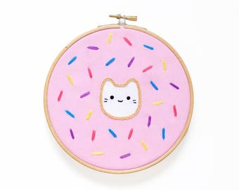 Donut Baby Cat - Hoop Art Kit - Limited Edition Sparkle Collective Collaboration