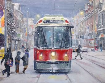 Toronto in winter- 501 Queen Streetcar
