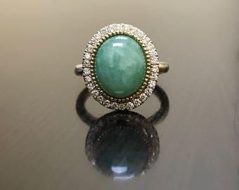 14K Yellow Gold Halo Diamond Jade Engagement Ring - Art Deco Jade Diamond Wedding Ring - Halo Diamond Ring - Art Deco Diamond Halo Jade Ring