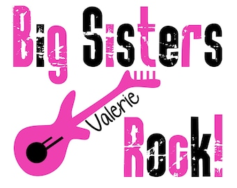 Big Sisters Rock Guitar Shirt or Bodysuit - Personalized with your child's name
