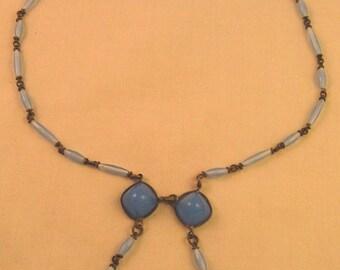 Art Deco Blue Glass Fringe Dangles Sautoir Necklace
