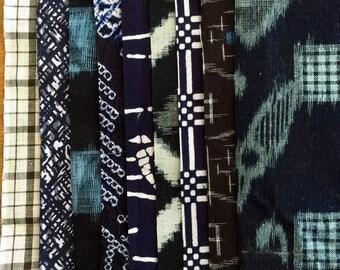 6.5 inch squares Vintage Japanese kasuri ikat indigo cotton 9 pieces