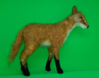 Needle felt fox sculpture - one of a kind - gift item